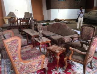 Inside the Eritrean embassy. This and other embassy furniture from twenty years ago has been handed over by the Eritrean leader to his Ethiopian counterpart.