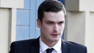Adam Johnson arriving at Bradford Crown Court for his trial