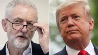 Jeremy Corbyn and Donald Trump composite image