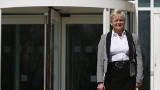 Denise Aubrey outside the tribunal building