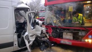 Crash between bus and van at Lea Bridge Road