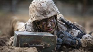 Maria Daume, a Marine Corps recruit, during the Crucible