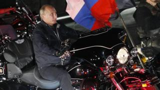 Vladimir Putin at a bikers' rally at the Black Sea, 2011