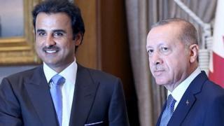 क़तर के अमीर शेख तमीम बिन हमद अल थानी के साथ तुर्की के राष्ट्रपति अर्दोआन
