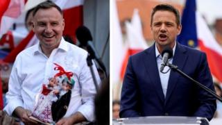 Andrzej Duda (L) affronta una sfida scoraggiante dal sindaco di Varsavia Rafal Trzaskowski