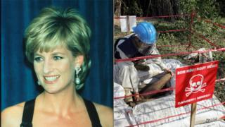 Công nương Diana là người vận động không mệt mỏi cho việc rà phá bom mìn ở những vùng đất bị chiến tranh tàn phá