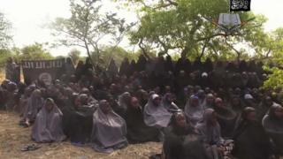 "-In this file photo taken from video released by Nigeria""s Boko Haram terrorist network, Monday May 12, 2014, shows missing girls abducted from the northeastern town of Chibok."