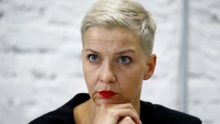 Maria Kolesnikova en una conferencia de prensa en Bielorrusia
