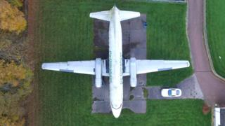 Drone view of plane