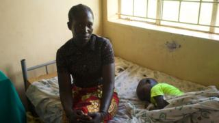 Achan Nightly and her son Opio Innocent at Kitgum Hospital