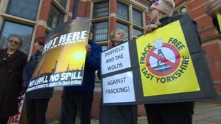 Anti-fracking campaigners protesting outside the County Hall in Beverley
