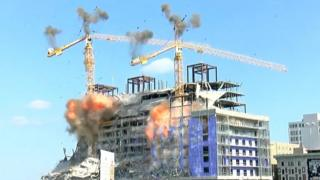 Two cranes destroyed