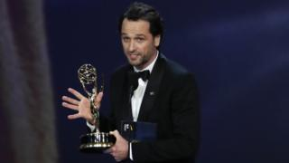 Matthew Rhys accepting his Emmy in Los Angeles