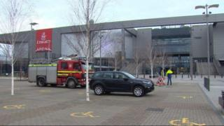 Fire crew at the Emirates Arena