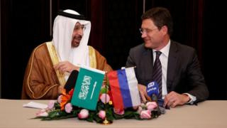 خالد الفالح وزیر نفت عربستان و الکسنادر نواک وزیر انرژی روسیه