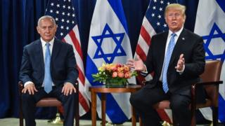 Benjamin Netanyahu and Donald Trump meet on the sidelines of the UN General Assembly in New York (26 September 2018)