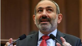 Armenian acting Prime Minister Nikol Pashinyan speaks during a parliament session in Yerevan, Armenia