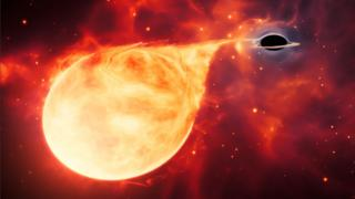 Artwork: The presumed black hole revealed itself by tearing a star apart