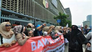 Demo di depan gedung Bawaslu di Jakarta pada 30 April 2019 terkait kecurangan Pemilu.