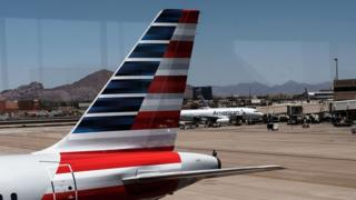 The tail of an American Airlines aircraft
