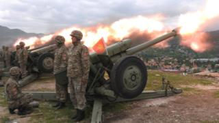 Montenegrin artillery salute on eve of Independence Day, 20 May 2010, in Cetinje