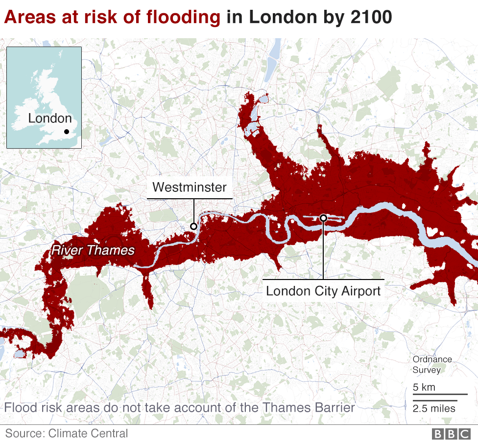 Map of London showing areas at risk of flooding in 2100