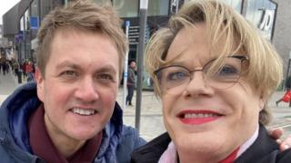 James Frith on the campaign trail with Eddie Izzard