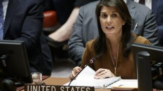 نیکی هیلی در روز 9 آوریل در سازمان ملل