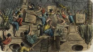 Ilustración sobre el Motín del té.
