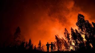 Пожежні на тлі пожежі вночі