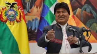 Bolivia's President Evo Morales speaks during a press conference in La Paz