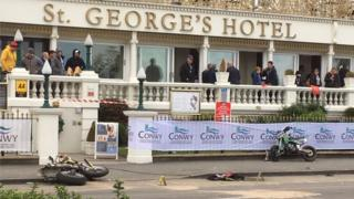 Motorbikes crashed outside St George's Hotel