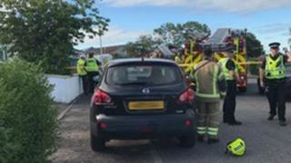 Emergency services at the scene in Inverness
