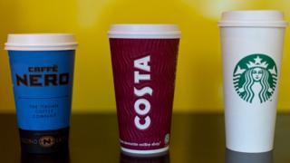 Nero, Costa and Starbucks coffee cups