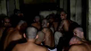 Members of Barrio 18 gang remain in a cell at the Penitentiary Complex in Izalco, El Salvador, 27 April 2020