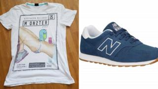 Blue New Balance trainers and a Fishbone t-shirt
