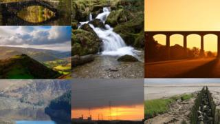 Clockwise from top left: Elan Valley, Penbont waterfall, Pontcysyllte aqueduct, an estuary by the Gwent levels,