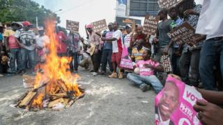 a protest in Port-au-Prince, Haiti, 14 May 2016