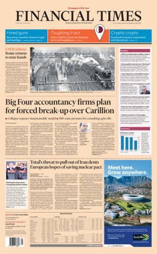 Financial Times Thursday front page
