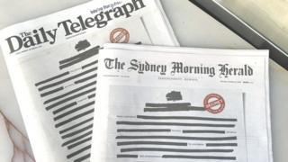كبريات الصحف الأسترالية سودّت أُوليات صفحاتها اليوم الاثنين