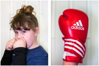 Regan, 8, has made new friends at the boxing club