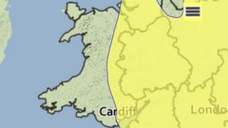 Met Office map showing yellow weather warning of fog