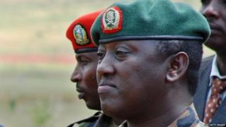 "A photo taken on December 17, 2010 shows Rwandan Lieutenant General Karenzi Karake at Nasho Military training school in Kirehe District, in Rwanda""s Eastern Province,"