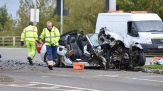Leicester Lubbesthorpe Way crash fire engine