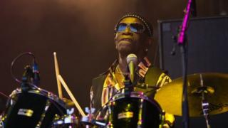 Tony Allen performs on the Park stage the Glastonbury festival in the UK. Photo: June 2010