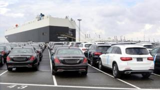 Cars of German car maker Mercedes Benz are parked at the automotive terminal at the port of Bremerhaven, northern Germany, 23 July 2017 (re-issued 02 July 2018).