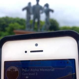 Pokemon Go game at Piper Alpha Memorial in Aberdeen