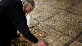 Medieval tiled pavement at Cleve Abbey, Somerset