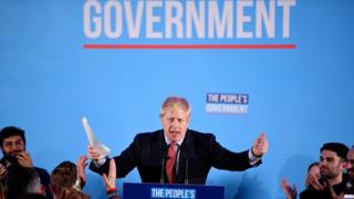 Britain's Prime Minister and leader of the Conservative Party, Boris Johnson speaks during a campaign event in London, 13 December 2019