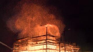 The fire engulfed the construction